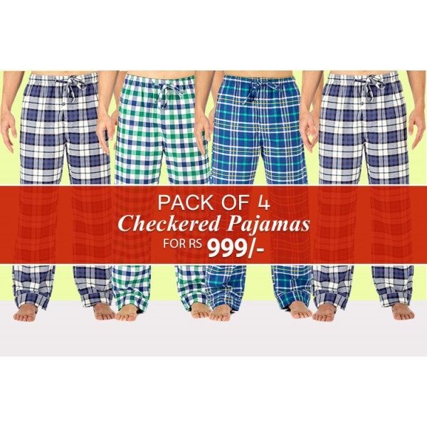 Pack of 04 Checkered Trousers For Him