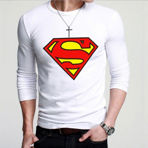 White Round Neck Full Sleeves Superman Printed T shirt