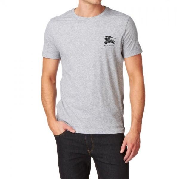 Heather Grey Round Neck Burberry Logo T shirt