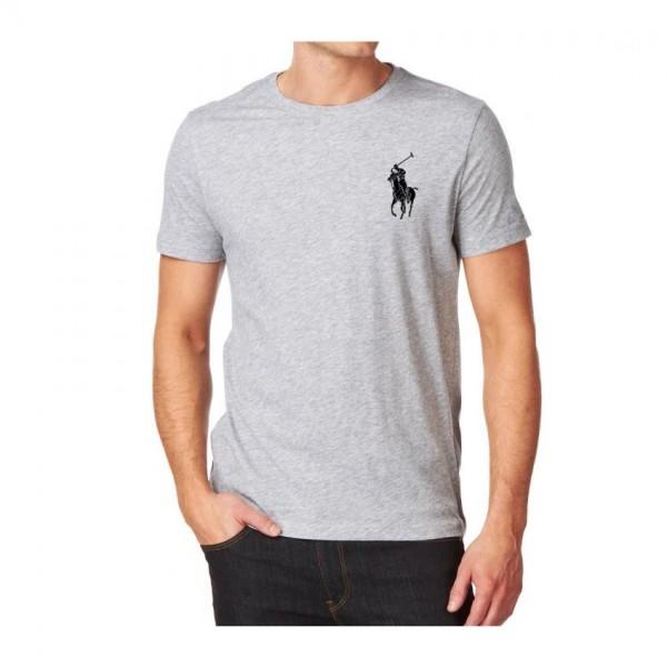Heather Grey Round Neck Polo Logo Cotton T shirt