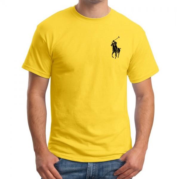 Yellow Round Neck Polo Logo T shirt
