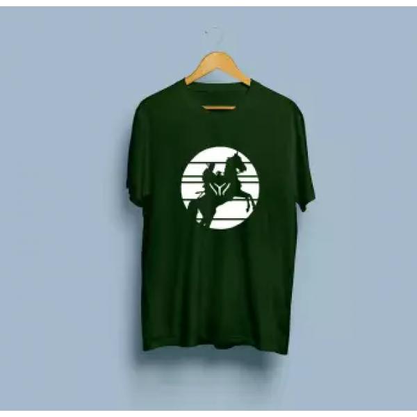 Green Kayi Tribe Cotton Printed T shirt For Him
