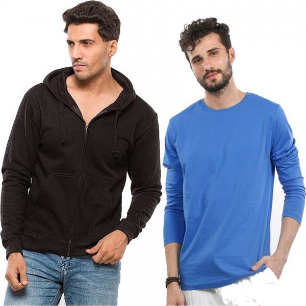 Bundle of 1 Hoodie and 1 T shirt for Mens Winter Collection