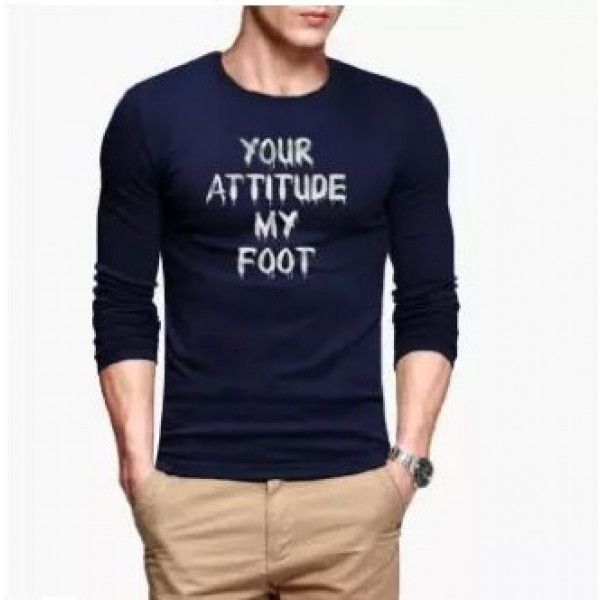 Navy Blue Full Sleeves Your Attitude My Foot Printed Cotton T shirt