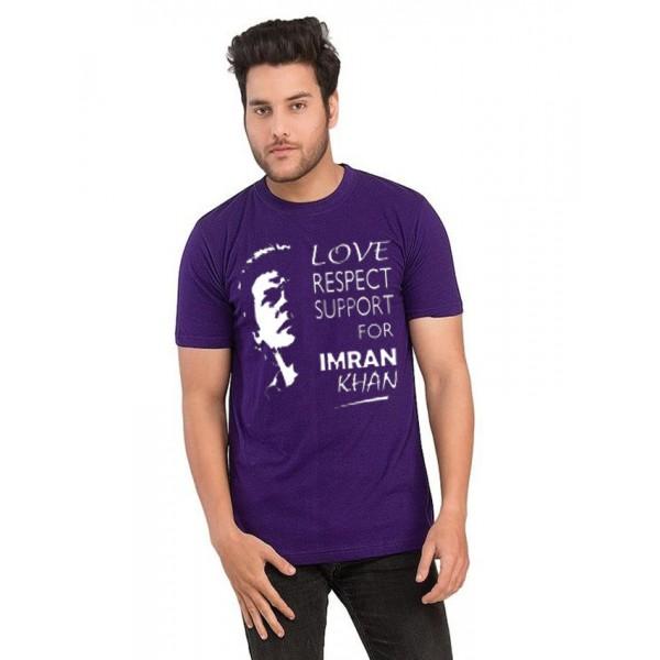 Purple Support Imran Khan Printed T shrit For Him