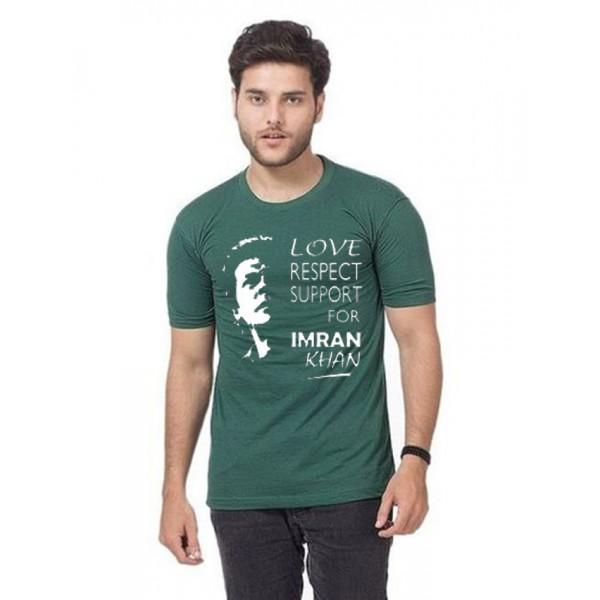 Green Support Imran Khan Printed T shirt For Him