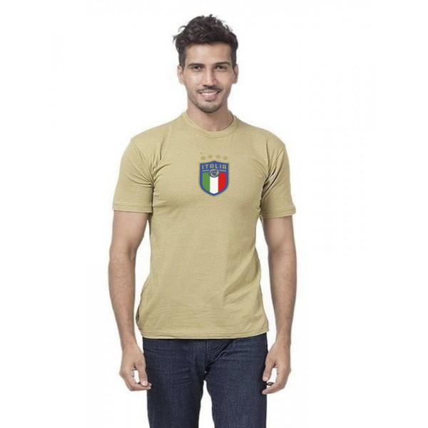 Beige Italia Printed Cotton T shirt For Men