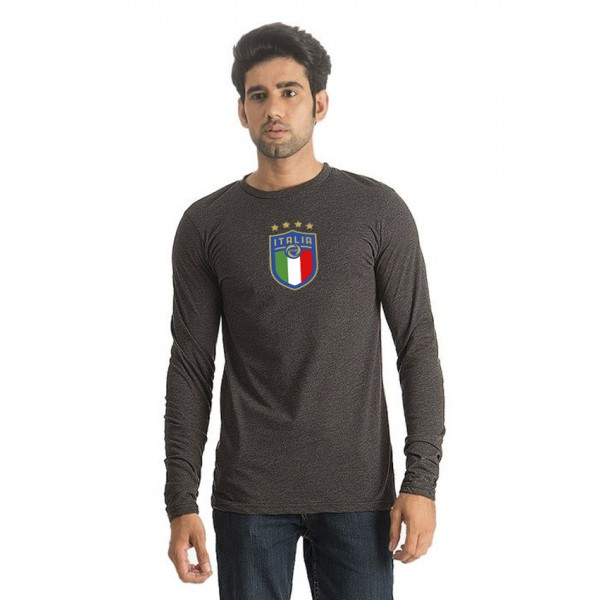 Charcoal Round Neck Full Sleeves Italia Printed T shirt