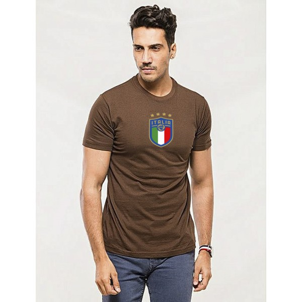 Brown Round Neck Half Sleeves ITALIA Printed T shirt