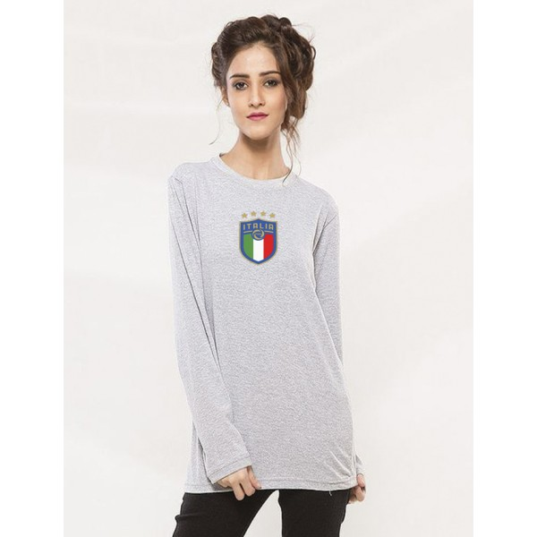 Heather Grey Round Neck Full Sleeves ITALIA Printed T shirt For Her