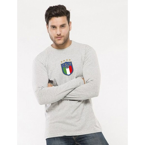 Heather Grey Round Neck Full Sleeves ITALIA Printed T shirt For Him