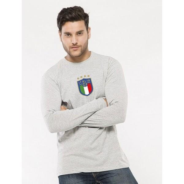 Heather Grey Round Neck Full Sleeves ITALIA Printed T shirt