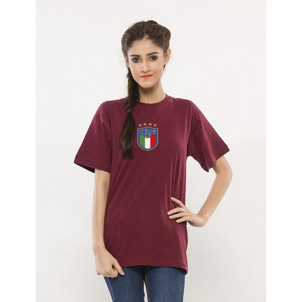 Maroon Round Neck Half Sleeves ITALIA Printed T shirt For Her