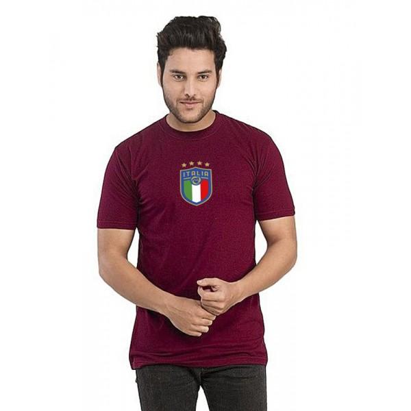 Maroon Round Neck Half Sleeves ITALIA Printed T shirt