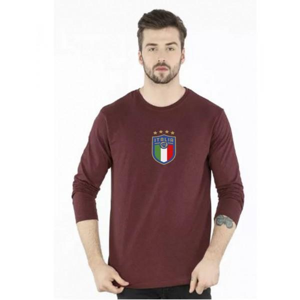 Maroon Round Neck Full Sleeves ITALIA Printed T shirt