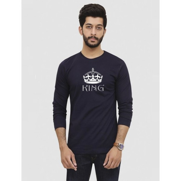 Navy Blue Round Neck Full Sleeves KING Printed T shirt For Him
