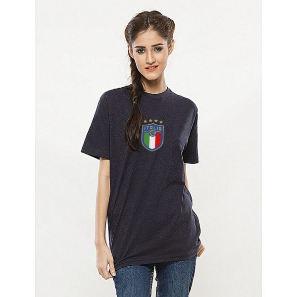 Navy Blue Round Neck Half Sleeves ITALIA Printed Cotton T shirt