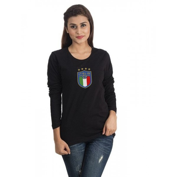 Black Round Neck Full Sleeves Italia Printed T shirt For Her