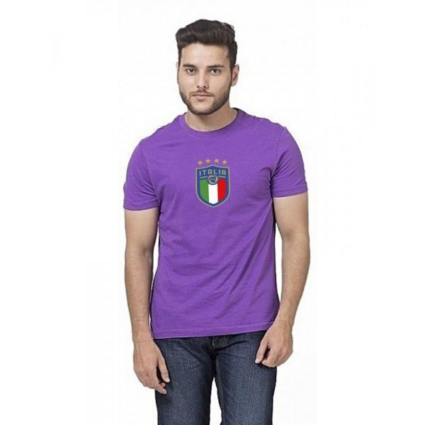Purple Round Neck Half Sleeves ITALIA Printed T shirt
