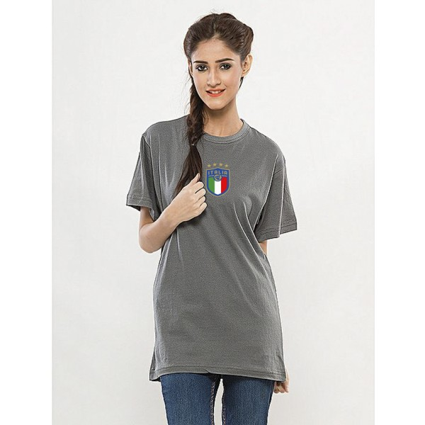 Steel Grey Round Neck Half Sleeves ITALIA Printed T shirt