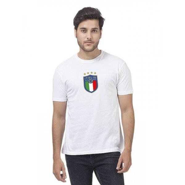 White Round Neck Half Sleeves ITALIA Printed T shirt