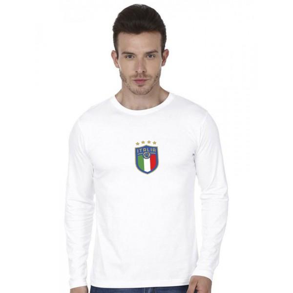 White Round Neck Full Sleeves ITALIA Printed T shirt
