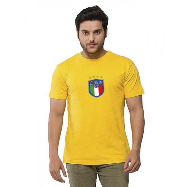 Yellow Round Neck Half Sleeves ITALIA Printed T shirt
