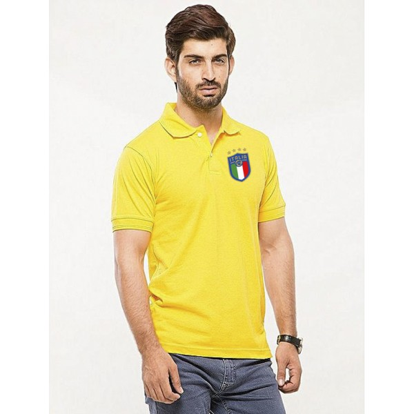 Yellow ITALIA Logo Polo Shirt For Him