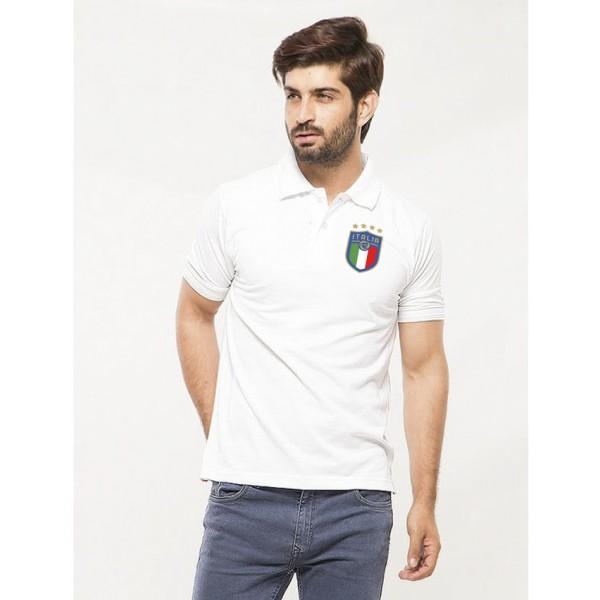 White ITALIA Logo Cotton Polo Shirt