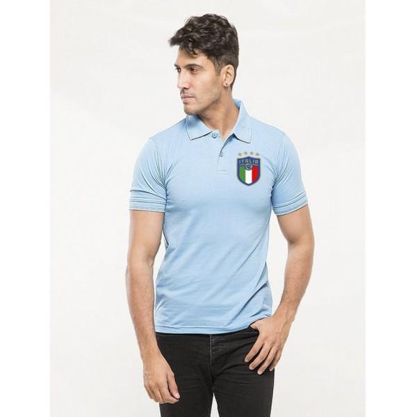 Turquoise ITALIA Logo Cotton Polo Shirt