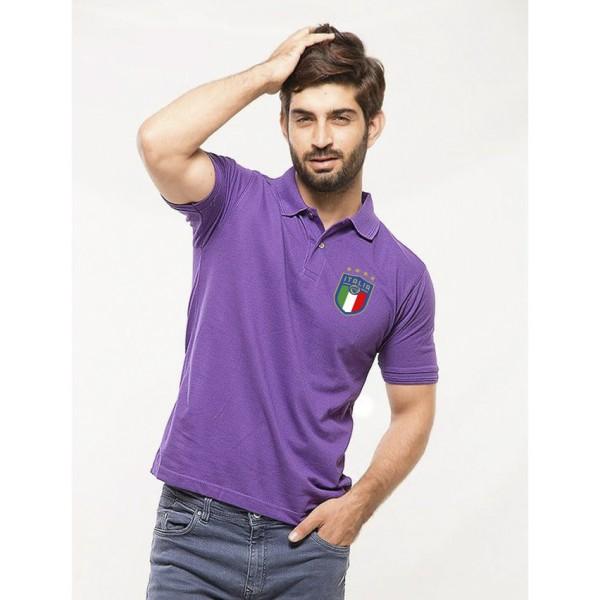 Purple ITALIA Logo Cotton Polo Shirt For Him