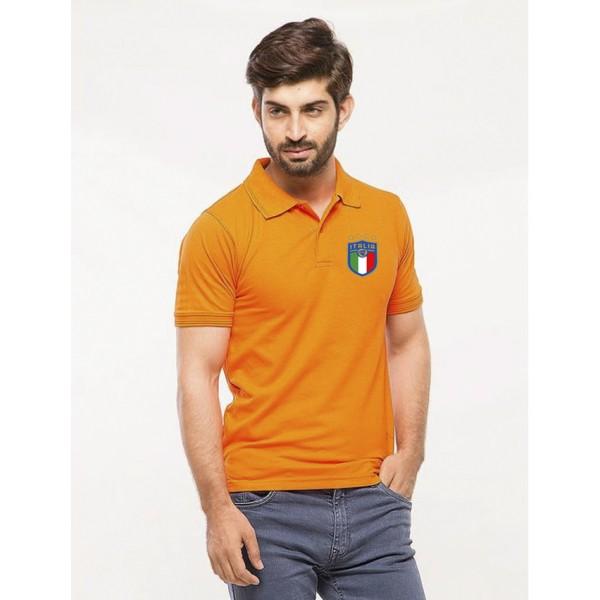 Orange ITALIA logo Printed Cotton Polo Shirt