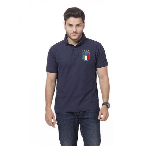 Navy Blue ITALIA Logo Cotton Polo Shirt