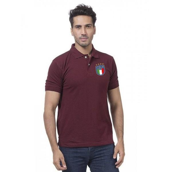 Maroon ITALIA Logo Printed Cotton Polo Shirt