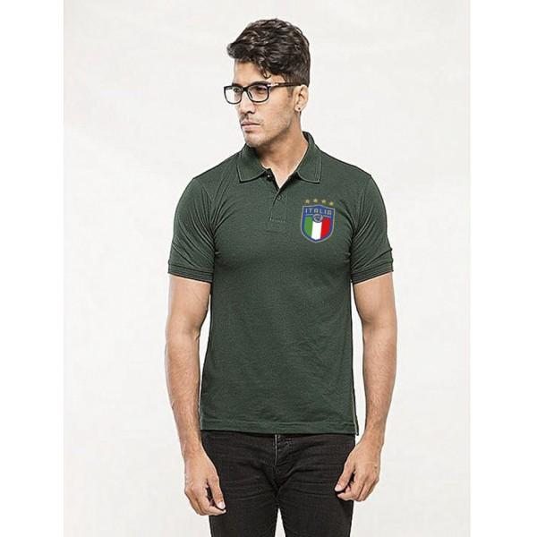 Green ITALIA Printed Cotton Polo Shirt