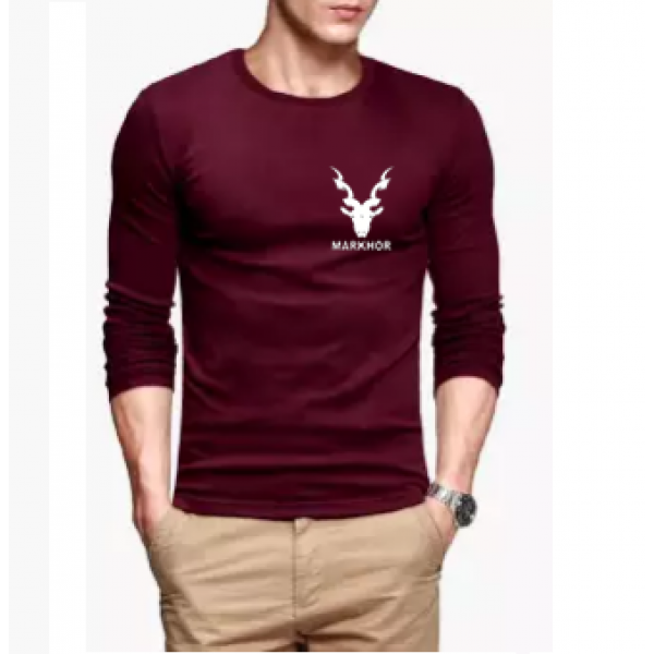 Maroon Full Sleeves Markhor Printed Cotton T shirt For Him