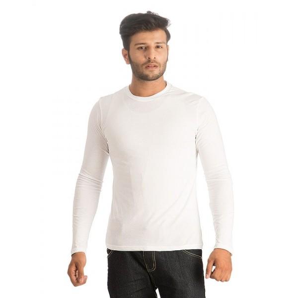 White Round Neck Full Sleeves T shirt