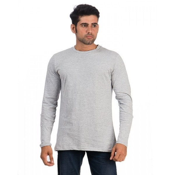 Grey Round Neck Full Sleeves T shirt