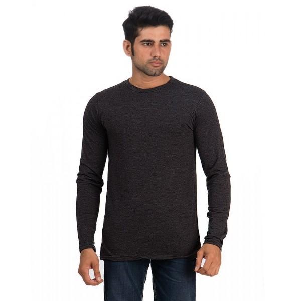 Charcoal Men Round Neck Full Sleeves T shirt