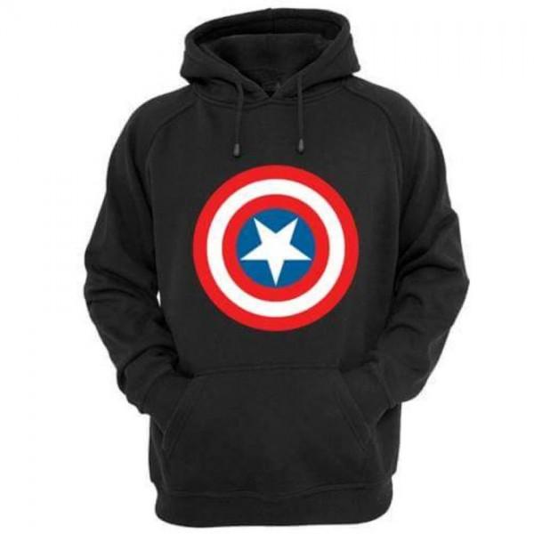 Captain America Kangaroo Hoodie in Black