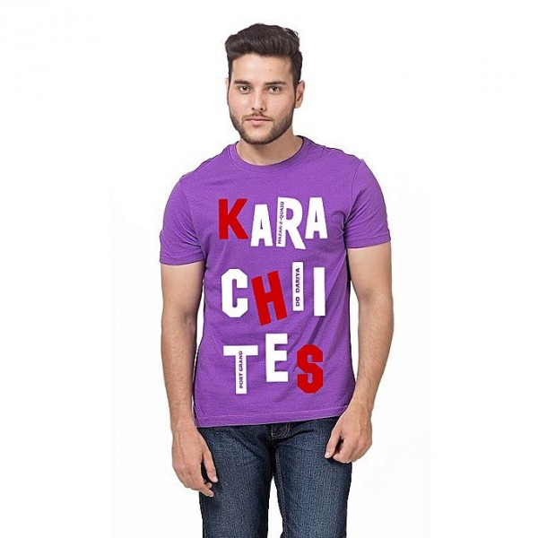 Purple Round Neck Half Sleeves Karachi Printed T shirt