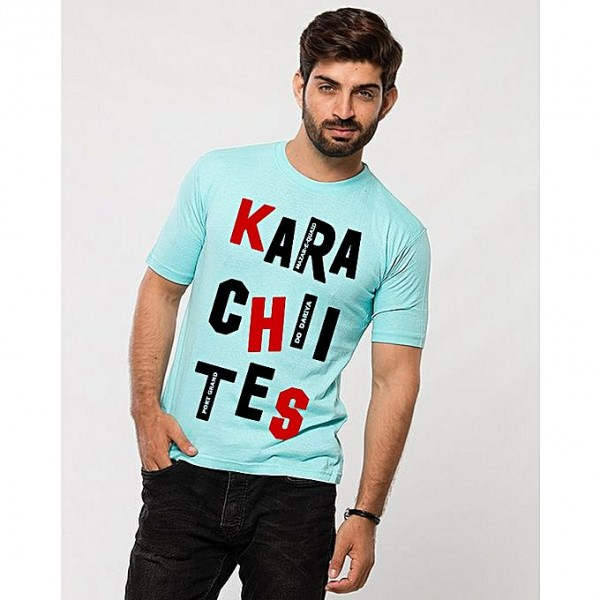 Turquoise Color Karachi Printed T shirt For Him