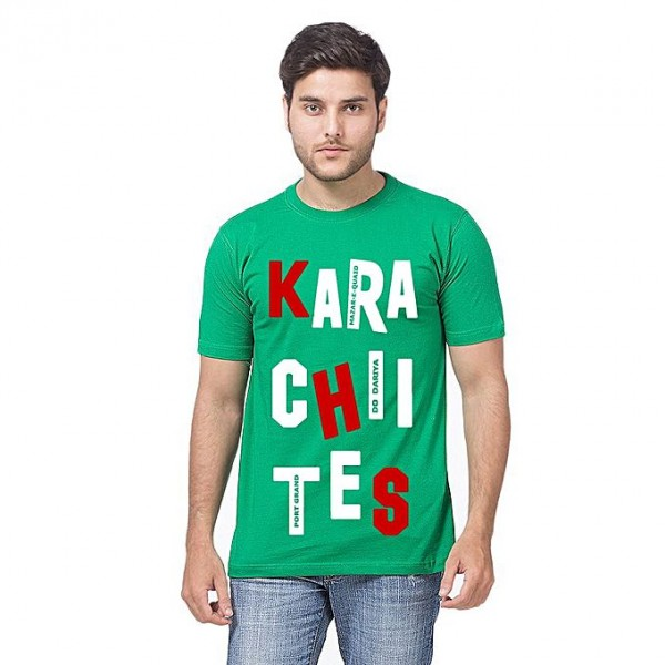 Green Color KARACHITIES Printed T shirt For Him