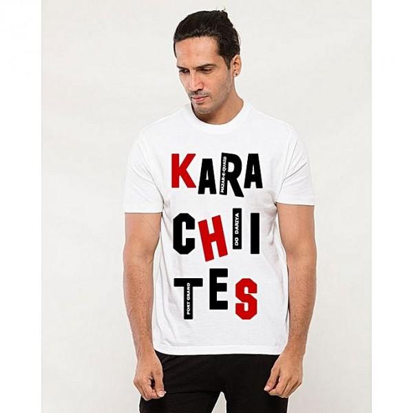 White Round Neck Half Sleeves Karachi T shirt