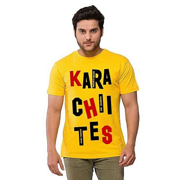 Yellow Color Round Neck Half Sleeves Karachi T shirt