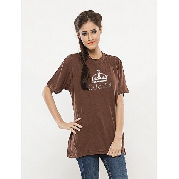 Brown Round Neck Half Sleeves QUEEN Printed Cotton T shirt