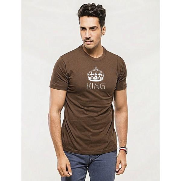 Brown Round Neck Half Sleeves KING Printed Cotton T shirt