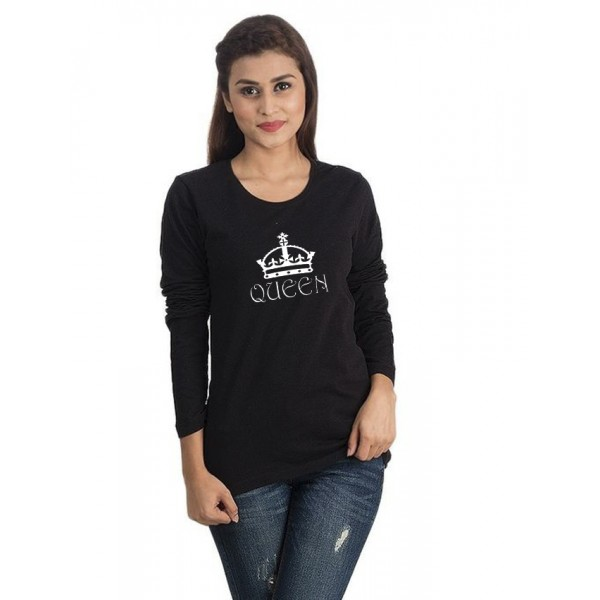 Black Round Neck Full Sleeves QUEEN Printed T shirt For Her