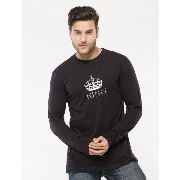 Black Round Neck Full Sleeves King Printed Cotton T shirt