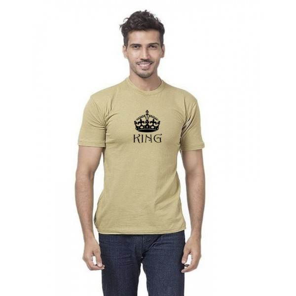 Beige King Printed Cotton T shirt For Him